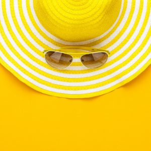 Sunglasses And Striped Retro Hat